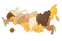 """Карта России из дерева """"Color Rus"""" (75х45 см.)"""