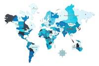 """Карта Мира из дерева """"Color blue"""""""