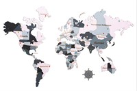 """Карта Мира из дерева """"Color pink"""""""