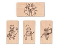 """Доска для выжигания """"Роботы №3""""  (4 с контурами + 1 пустой для творчества)"""