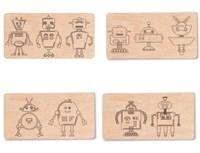 """Доска для выжигания """"Роботы №2""""  (4 с контурами + 1 пустой для творчества)"""