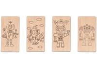 """Доска для выжигания """"Роботы №1""""  (4 с контурами + 1 пустой для творчества)"""