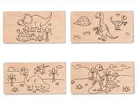 """Доска для выжигания """"Динозавры №1""""  (4 с контурами + 1 пустой для творчества)"""